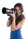The girl the photographer — Stock Photo