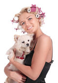The girl with the doggie — Stock Photo