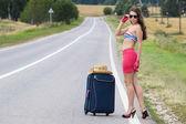 A garota na estrada — Fotografia Stock