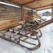 The sleigh in a Siberian village, winter, nobody — Stock Photo