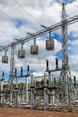 Trap-lining (high-frequency stopper) on the high-voltage transmission line — Zdjęcie stockowe