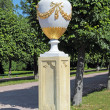 Pot on alley of lower park of Peterhof Palace garden — Stock Photo #22165519