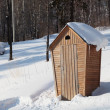 Rural lavatory in the forest in winter - Stock Photo