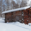 Stock Photo: Barn in Siberivillage, winter, nobody