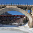 Stock Photo: Russia, Siberia, winter Baikal, the view of the old bridges Circ