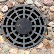 Stock Photo: Round grille sewage wells to drain rain and melt water
