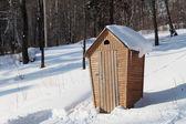 农村厕所在冬季森林 — 图库照片