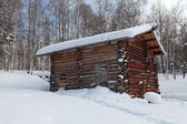 The barn in a Siberian village, winter, nobody — Stock Photo