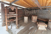 """Wooden press, Irkutsk architectural and ethnographic museum """"Taltsy"""" — Stock Photo"""