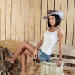 Girl in cowboy hat - Stock Photo