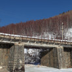 Russia, Siberia, winter Baikal, the view of the old bridge Circu — Stock Photo