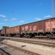 The locomotive drags freight cars - Stock Photo