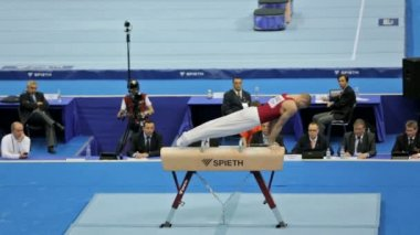Krisztian Berki - Hungarian gymnast at the European Championships in artistic gymnastics, 2013. — Stock Video
