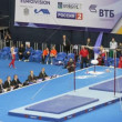 Stock Video: Gymnast Marijo Moznik on horizontal bar
