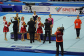 Awarding of winners Balance Beam — Stock Photo