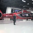 Commercial helicopter in the pavilion — Stock Video