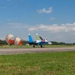 Russian Knights aerobatic group — Stock Photo #32638763