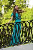Girl on the bridge — Stock Photo