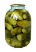 Big jar with marinaded cucumbers isolated on a white background — Stock Photo