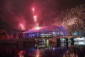 Fireworks over the stadium Fisht — Stock Photo