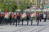 Laying of flowers on Victory day — Stock Photo