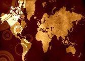 Mapa do mundo grunge — Foto Stock