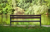 Lonely bench near the lake — Stock Photo