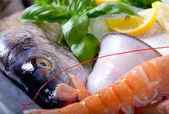 Färska skaldjur på is — Stockfoto