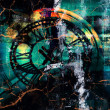 Time travel - Grunge textured abstract digital art background — Stock Photo #48311639