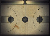 Grunge style illustration of a basketball court — Stock Photo