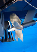 Modern motor  boat propeller detail — Photo