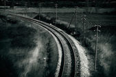 Old railroad , artistic retro style toned photo — Stock fotografie