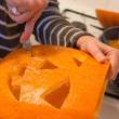Halloween jack o lantern preparation — Stock Photo