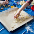 Stock Photo: Children baking Christmas cookies