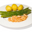 Asparagus and shrimps — Stock Photo #18195921
