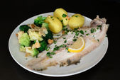Dover sole fish dinner — Stock Photo