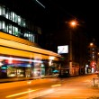 Stock Photo: Night scenery at the crossroads - bus