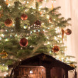 Christmas Tree With Crib — 图库照片