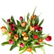 Bouquet of tulips on white - vertical — Stock Photo