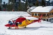 Rescue helicopter in Montafon skiing area — Stock Photo