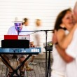 Stock Photo: Couples dancing to solo entertainer