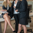 Three Businesswomen In Office Working On A Document — Stock Photo
