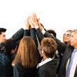 Teamwork - business people with joint hands — Stock Photo
