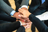 Teamwork - stack of hands — Stock Photo