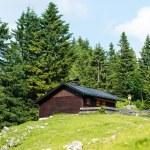 Mountain refuge with solar panels — Stock Photo #31334105