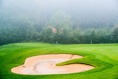 Sand bunker on the golf course. Mexican resort. Bahia Principe, Riviera Maya. — Stock Photo