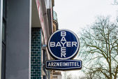 Old emblem of Bayer pharmaceuticals — Stock Photo