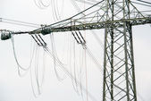 High voltage power pole construction works — Stockfoto