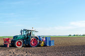 Agriculture - tractor sowing salad — Stock Photo