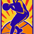 Stock Vector: Basketball Player Dribbling Ball Retro